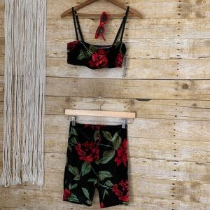 Urban Outfitters 3 Piece Floral Velvet Outfit